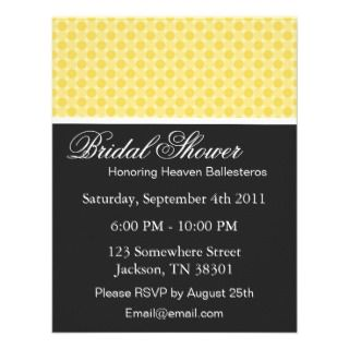 Yellow Polka Dots Bridal Shower Invitations