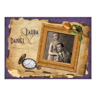 Vintage Purple Gold Frame Photo Wedding Invite II