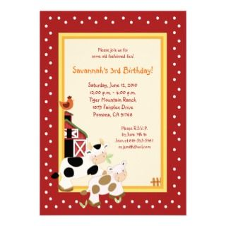 Moo Cow Farm Barnyard Country Birthday Invitations
