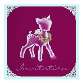 Spotted Fawn pine Wreath Season Party Invitation