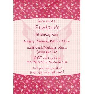 Pink floral butterfly birthday party invitation invitation
