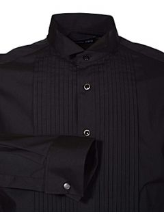 Double TWO Stitch pleat dress shirt Black