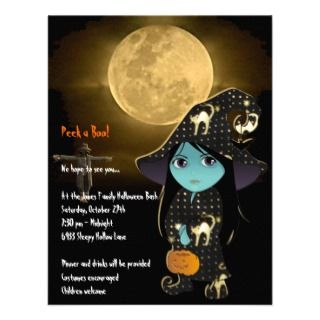 Lil Witch in Black Gold Robe Halloween Invitation