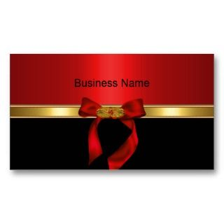 Elegant Business Card Gold Red Gold Jewel Bow