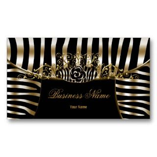 Classy Zebra Sepia Gold Metal Look Business Card