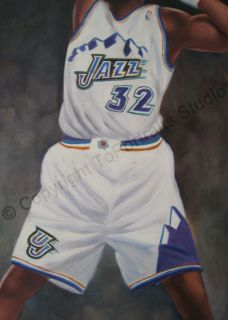 Karl Malone Utah Jazz Signature Dunk   Original NBA Oil Painting on