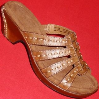 New Womens Croft Barrow Debra Brown Wedge Slides Sandals Fashion