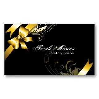 Wedding Planner Elegant Business Card Gold Ribbon