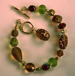 Diane Katzman 7 Charm Bracelet Green & Earth Brown Glass Beads Toggle
