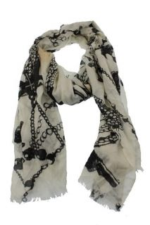 Kashmere New Black Ivory Pearl and Cross Print Rectangle Scarf One