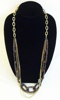 Zimaya Katrina Antique Gold Chain Black Brown Beaded Entwinned