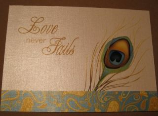 Love Never Fails Peacock Feather White Paisley Card
