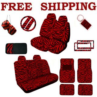 Set Red Zebra Tiger Print Steering Wheel Seat Covers Floor Mats & More