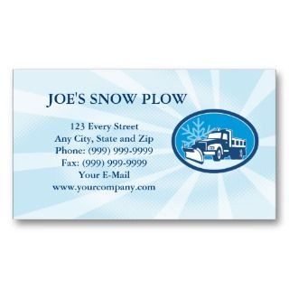 Snow Plow Truck Retro business card
