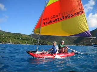 Saturn Inflatable Kayak with Sail Kit from SailBoatsToGo. Click to