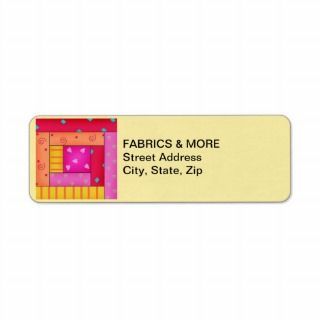 Log Cabin Quilt Block Yellow Return Address Label