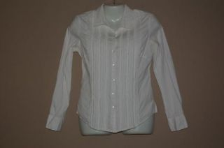 Womens Harolds Romantic White Pintuck Fitted Blouse Shirt Size XS