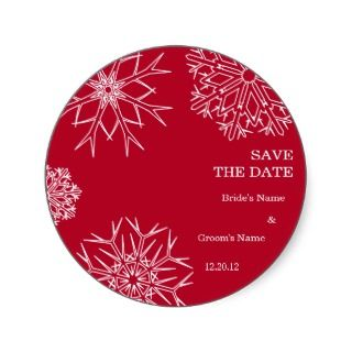 Snowflakes Wedding Save The Date Stickers   Custom
