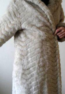 Vtg 70s Full Length Maxi Coat Faux White Arctic Fox Mink Fur Chevron
