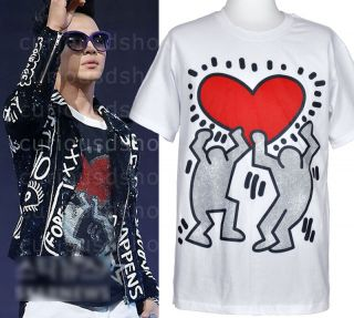 New Keith Haring Heart Print Graphic Tee T Shirt s M L Black White Big