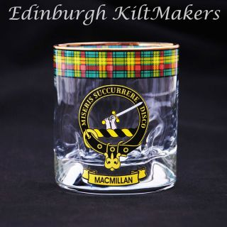 MacFarlane Clan Crested Whisky Glass Tartan Whisky Glasses