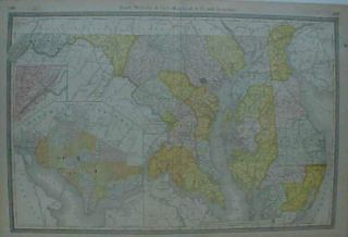 Original 1881 Map Maryland Delaware Washington DC Cecil