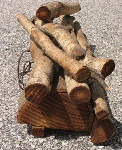 Vintage Birch Logs Electric Fireplace Insert