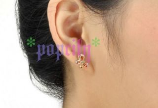 18K Gold GP Color Austrian Swarovski Crystal Butterfly Earrings E257A