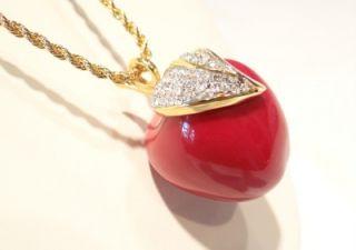 Kenneth J Lane KJL Red Apple Enamel Crystal Pendant Necklace
