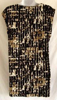 Kenneth Cole Reaction Dark Brown White Geometric Print L Stretch Mini