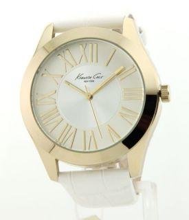 Womens Kenneth Cole White Leather Big Fashion Watch KC2677