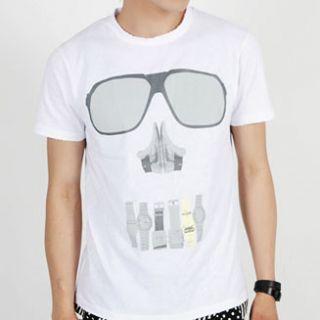 New Mens Sunglasses Skull Print Graphic Tee T Shirt s M