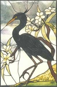 Stained Glass Supplies Blue Heron Full Size Pattern