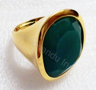 Kenneth Jay Lane Polished Gold Apple Jade Ring