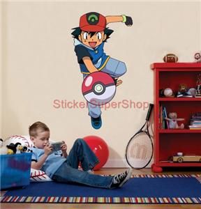 Choose Size Ash Ketchum Pokemon Decal Removable Wall Sticker Art Decor