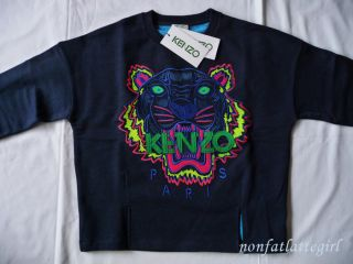 New SS 2013 Kenzo Paris Tiger Sweater sweat Shirt Jumper Blue Women