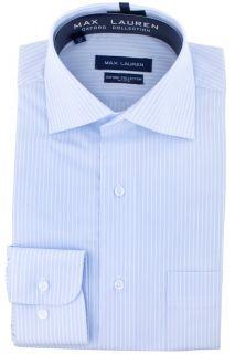 Max Lauren Light Blue Pinstripe Dress Shirt