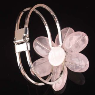 Fine Rose Quartz Silver Plated Flower Cuff Bracelet Bangle