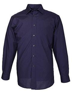 Double TWO Non iron poplin long sleeve shirt Navy