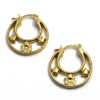 Gold 18K GF Earrings Star Angel Face Hoop Fashion Lady 20mm Fun