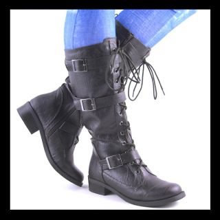 New Womens Dark Brown Midcalf Laceup Combat Boots