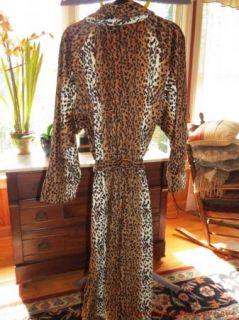 Kenneth Brown Microplush Animal Print Robe Cheetah Sz L XL Nice