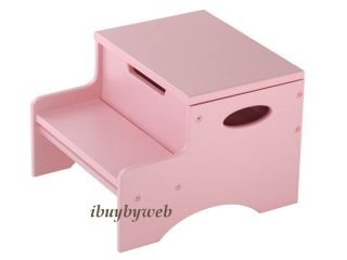 KidKraft Toddler Wooden Step Store Kids Step Stool Pink