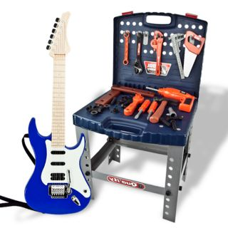Electric Guitar Toy Tool Set Pretend Playset Kids Boys Children Deluxe