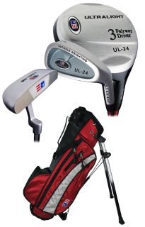 New US Kids Golf Ultralite Series 3 Club Set with Stand Bag Red