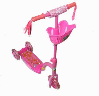 New Kids Boys Girls Pink Kick Light Up Scooter 2