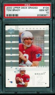 PSA 10 Gem Mint Tom Brady 2000 Upper Deck UD Graded RC 1325 RARE Sharp