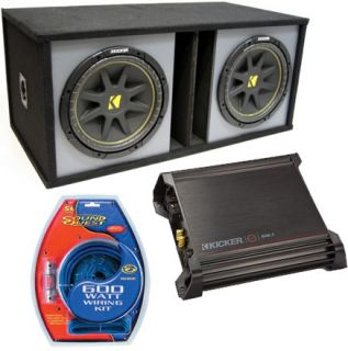 Kicker Dual 15 inches Ported Sub Box C15 Subwoofer w DX500 1 Amplifier
