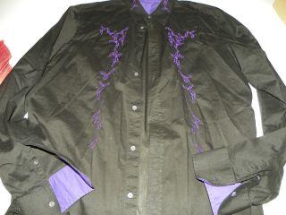 Black Embroidered Thin Cotton Dress Shirt 16.5 X 36 / 37 Fish Hooks