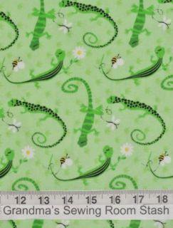 Flannel Lizard Bee Butterfly Daisy Green White Black Stripe Spot